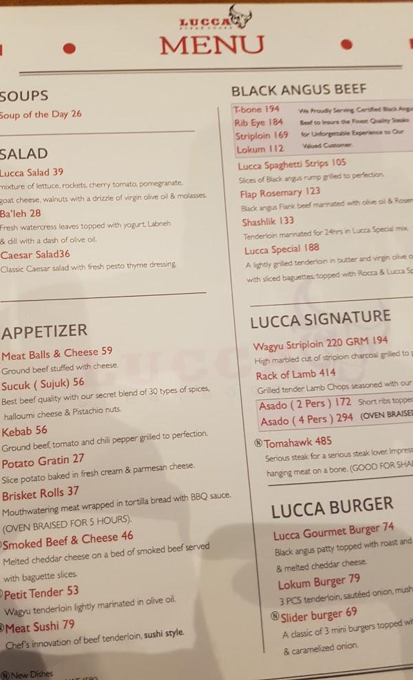 منيو مطعم لوكا ستيك هاوس